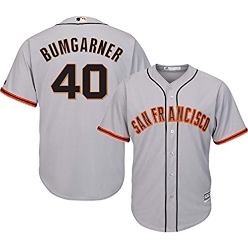 Madison Bumgarner San Francisco Giants Gray Youth Cool Base Road Replica Jersey (Medium 10/12) ()
