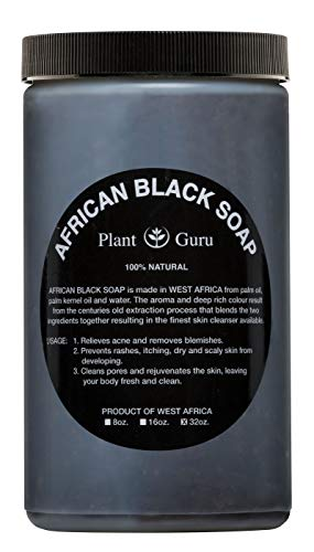 Raw African Black Soap Paste 2 lbs / 32 oz Bulk 100% Natural From Ghana Acne Treatment, Aids Against Eczema & Psoriasis, Dry Skin, Scar Removal, Pimples and Blackhead, Face & Body Wash
