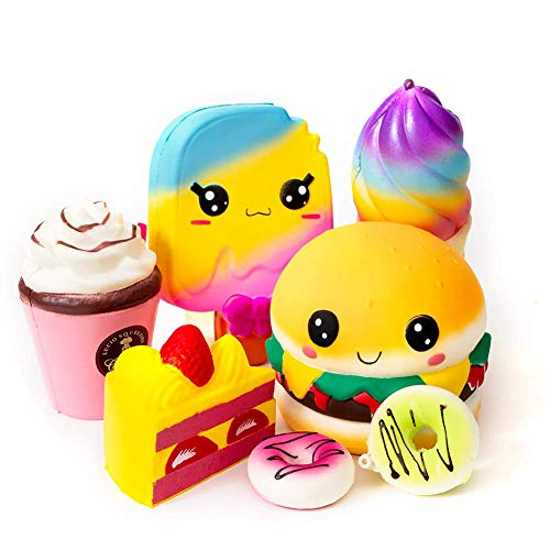 SYYISA Jumbo Squishies Slow Rising [7-Pack]: Ice Cream, Hamburger, Cake, Ice Lolly, Donut, and Frappuccino Kawaii Soft Food Squishy Toys - Squishys are Great Sensory Toys for Kids!]()