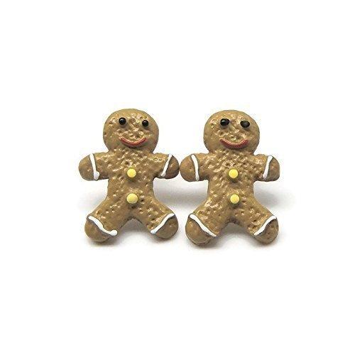 Gingerbread Man Cookie Earrings, Plastic Post Stud Earrings