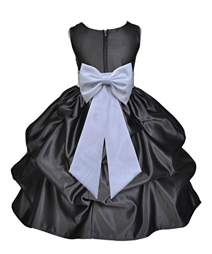 Bubble Satin Black (Black Satin Bubble Pick-up Toddler Flower Girl Dress Ballroom Dresses 208T S)