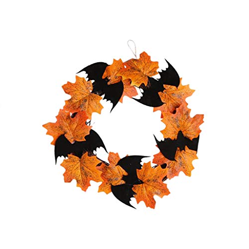 Iusun Halloween Bat Wreath Decorative Pendant Door Hanging Maple Leaf for Front Door or Indoor Wall Window Mall Theme Bar Décor to Celebrate Fall Season Party Ornaments (A)