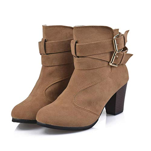 Ankle Boots Fashion Fall Winter Round Toe Low Chunky Heel Faux Leather Dress Booties (5, Brown) ()