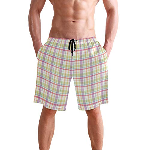 (Stripes Plaid Print Men's Swim Trunks Quick Dry Beach Board Shorts with Drawstring Pocket)