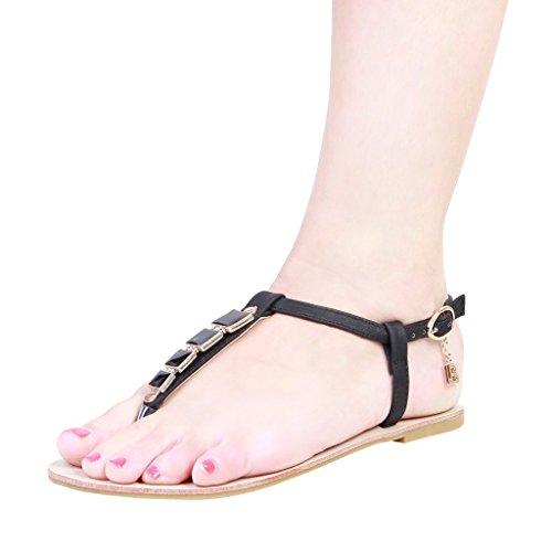 Laura Biagiotti - 345 Damen Flache Sandalen Mit Verstellbarer Knöchelriemen Ferse: 1 cm Nero