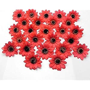 FidgetFidget Sunflowers Daisy Artificial Silk Flower Heads Wholesale 3 inch F36 50X100X200X Red 92