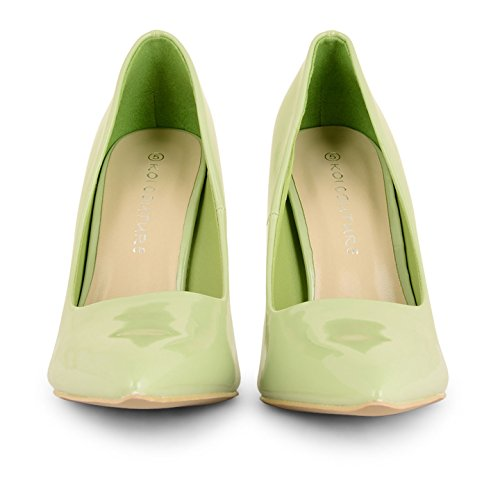 Tilly Shoes Patent punto de tacón Toe corsé stilettos Prom zapatos UK tamaños - Mint Patent