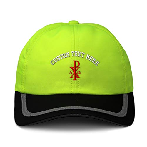 Custom Reflective Running Hat Chi Rho with Alpha Omega Embroidery Soft Neon Hunting Baseball Cap One Size Neon Yellow/Black Personalized Text Here