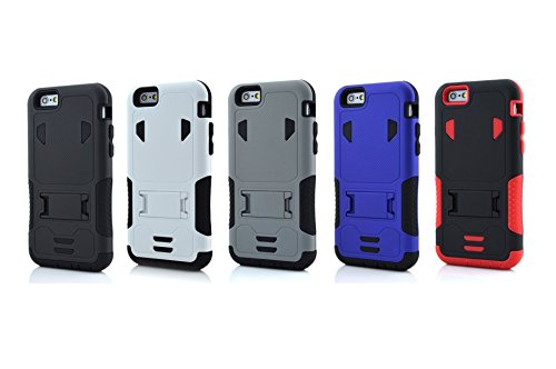 5s cas, cas de l'iPhone 5s, Lantier cool Series Super Aromor 3 en 1 Goutte antichoc Preuve Heavy Duty robuste souple double Silicone Case Armor Layer avec béquille pour Apple iPhone 5 iPhone 5s Rouge