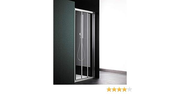 Cabina de ducha con puerta corredera, 3 puertas, máx. 111 cm, cristal transparente, perfil de aluminio blanco (extensible 105-111): Amazon.es: Bricolaje y herramientas