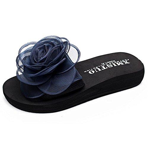 Ultraligeras De 41 Mujer Orange Rose Flowers Beach Chanclas Sandalias Blue Antideslizantes Summer w0vdqwZ
