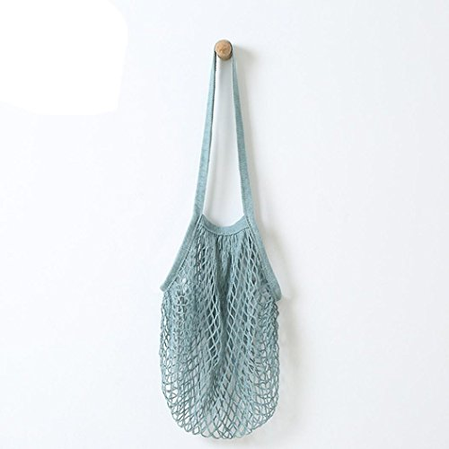 Eden Tote Bags - Coohole New Mesh Woven Net Turtle Bag String Shopping Bag Reusable Fruit String Grocery Shopper Storage Handbag Totes (Blue, 2)