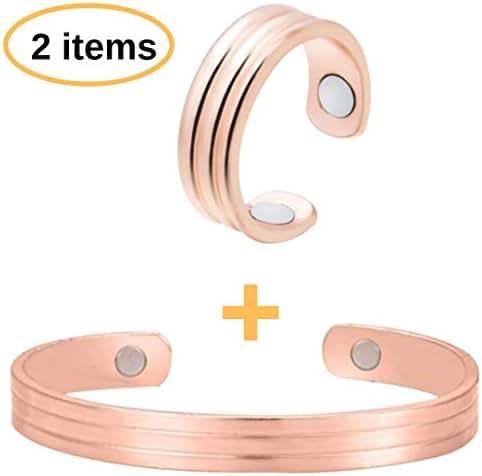 BodyMoves Copper Bracelet Plus Ring with Magnets(Royal Design) (Casual Design, Bracelet Plus Ring)
