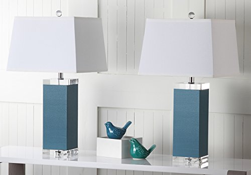 Safavieh Lighting Collection Deco Leather Blue 25.5-inch Table Lamp (Set of ()
