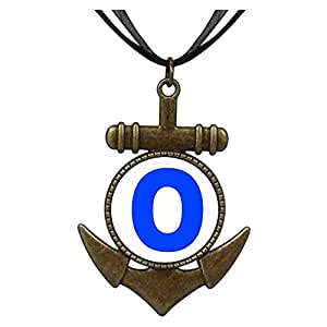 Chicforest Bronze Retro Style Blue Letter O Anchor Pendant