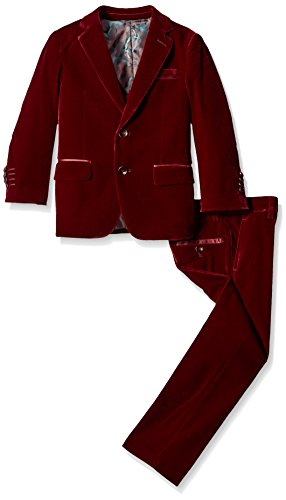 Isaac Mizrahi Boys' Little Boys' 3 Piece Velvet Suit, Burgundy, 6 by Isaac Mizrahi