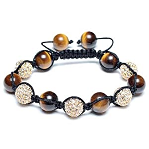 Bling Jewelry Shamballa Inspired Bracelet Simulated Tiger Eye Beads Alloy