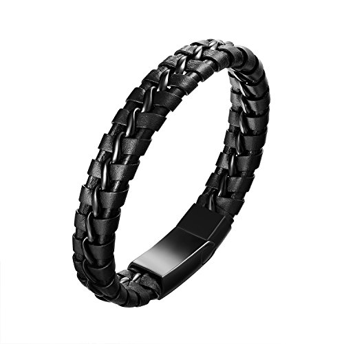 FGA Men Women Vintage Braided Leather Bangle Bracelet with Stainless Steel Magnetic-Clasp Bracelet 8.5 inch (21.5cm)