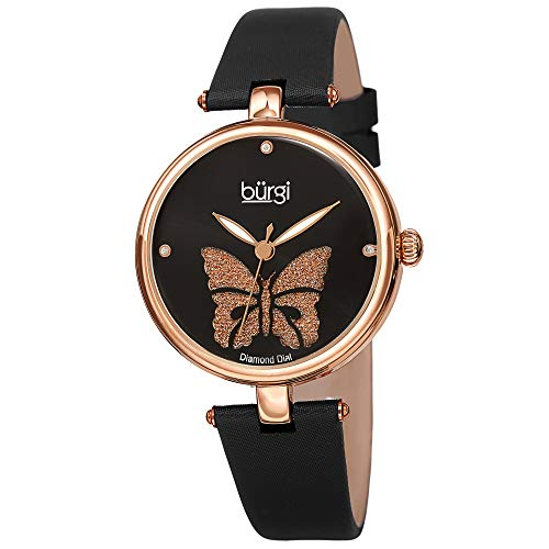 Burgi Designer Women's Watch - Pretty Butterfly Glitter Dial, Satin Over Genuine Leather Black Strap, 3 Diamond Markers, Polished Bezel - BUR233RGBK