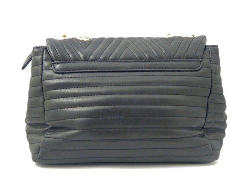 Pochette trapuntata a spalla in eco pelle nera, tracolla in catena dorata regolabile, CFZ8330