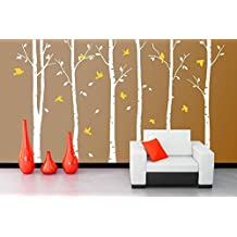 """ZXWFOBEY 6pcs DIY Big Birch Tree Wall Decal Nursery Removable PVC Tree Wall Decals for Living Room Wall Stickers 157x102"""",White"""