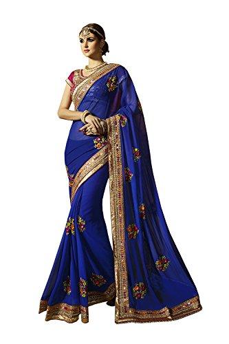 Mrs.India Indian Women Designer Wedding Blue Saree Sari SS-512