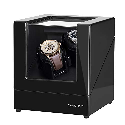 TRIPLE TREE Double Watch Winder, for Automatic Watches, Wood Shell Piano Paint Exterior, Extremely Silent Motor, Flexible Watch Pillows, Suitable for Ladies and Men's Wrist