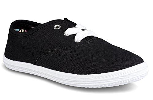 Twisted Girls Canvas Printed Lining Tennis Shoe - TENNIS190K Black, Size 12