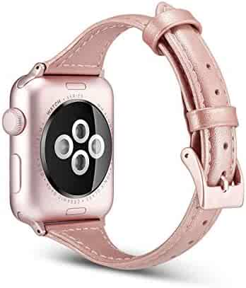 Juzzhou Watch Bands For Apple Watch iWatch 38mm/42mm Series 1/2/3 Leather Replacement With Metal Adapter Buckle