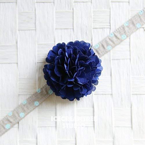 Pom Pom Bloom Collar Slide On, Flower Collar Accessories, Corsage Accessories, Collar Add On, Pom Pom - Navy