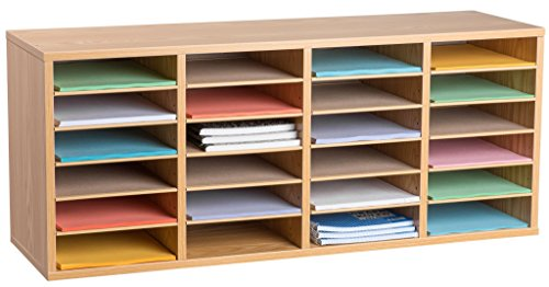 (AdirOffice Wood Adjustable Literature Organizer (24 Compartment, Medium Oak))