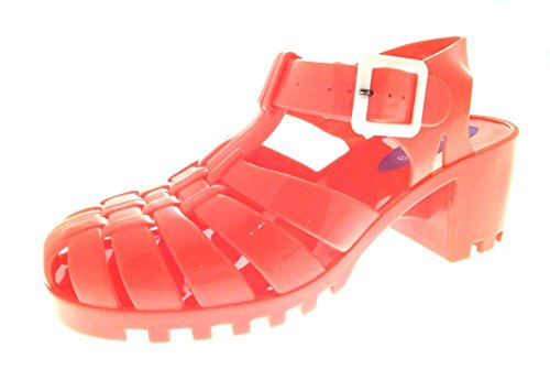 Lora Dora Womens Block Chunky Heel Jelly Sandals Coral z8L1LbE