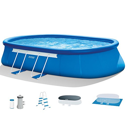 Intex 18ft X 10ft X 42in Oval Frame Pool Set with Filter Pump Ladder Ground Cloth amp Pool Cover