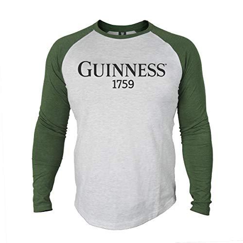 Guinness Men's Grey Cotton Vintage Baseball Style Long Sleeve T-Shirt