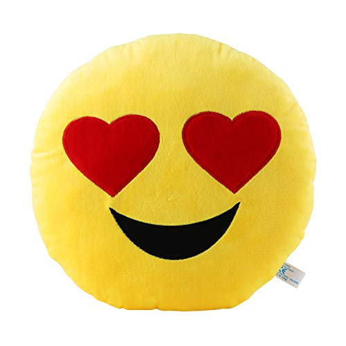 Heart Eyes Emoji Pillow 12.5 Inch Large Yellow Smiley Emoticon
