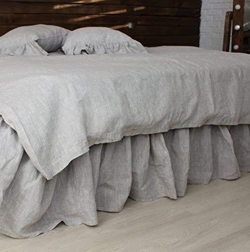 Pure Linen Bedskirt with Romantic Ruffles - US Queen Size 60'' X 80'', 14