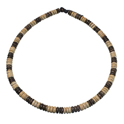 Hawaiian Surfer Necklace Made from Dark and Light Brown Coco Pukalet Beads with Loop and Bead Closure (20 IN)