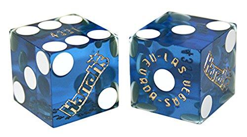 Harrahs Casino - Cyber-Deals Pair (2) Harrah's Casino Las Vegas 19mm Authentic Table-Played Dice (Blue)