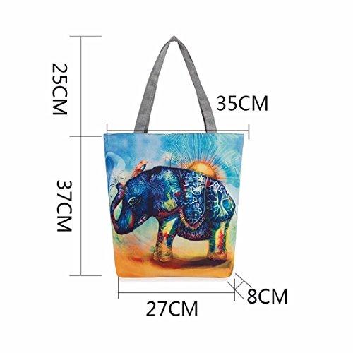 épaule BZLine® Toile en à Taille à 37×8×27CM Sac d'éléphant F Femme Motif Sacs à Main fXqfCr8xw