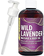 IQ NATURAL Lavender Massage Oil Infused with Real Lavender Essential Oil, Relaxing Blend of Almond & Grapeseed Oils For Massage - For Massage Therapy & Aromatherapy - 8.8 fl oz
