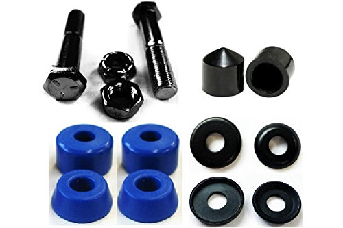 Complete Set of Replacement Skateboard Kingpins, Bushings, Washers & Pivot Cups Kit (Blue)