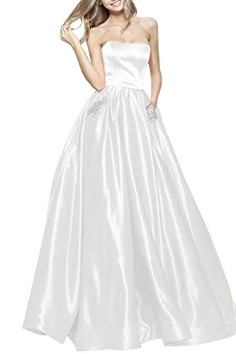 BBCbridal Women's Strapless Beaded Prom Dresses Long A Line Satin Evening Dress Party Gowns with Pockets White 2