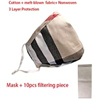 Dustproof Cotton melt-blown nonwoven 3 Layers Protection Face Cover Mouth mask Cotton Washable Mask (1-GridL+10pcsfilter)