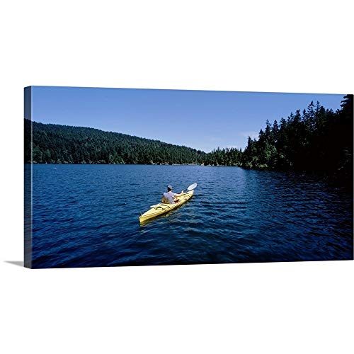 GREATBIGCANVAS Gallery-Wrapped Canvas Entitled Rear View of a Man on a Kayak in a Lake, Orcas Island, Washington State by 60