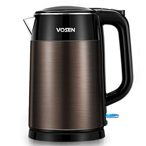 Electric Kettle, VOSEN Electric Tea Kettle 1.7L Double Wall Stainless Steel, BPA Free Cool Touch Kettle with Auto Shut-Off & Boil Dry Protection, 1500W Fast Boiling