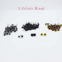 60 Pairs(3 Mixed Color) Glass Eyes 3/4/5/6/7/10mm for Needle Felting Bears Dolls Decoys Sewing (20 Pairs Per Color) (9mm)