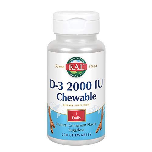 Vitamins Chewable Kal (KAL D-3 2000 IU Sugarless Chewable Cinnamon, 200 Count)