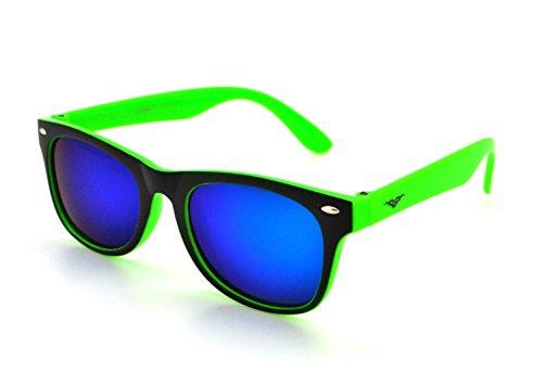 VertX Polarized Lightweight Strong Trendy Boys & Girls Kids Retro Wayfarer Sunglasses w/FREE Microfiber Pouch - Green Frame - Blue/Green - Strong Girl Glasses