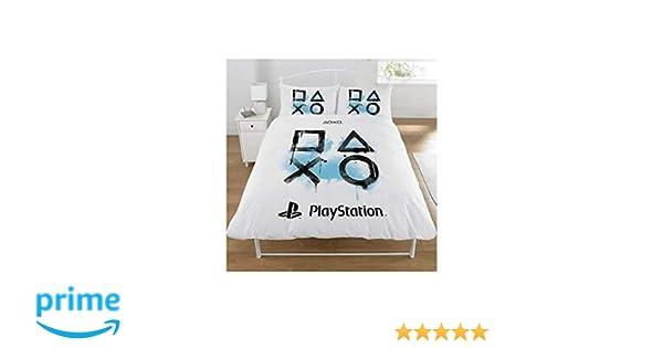 Sony Playstation - Juego de Funda nórdica y Funda de Almohada (polialgodón), Color Blanco