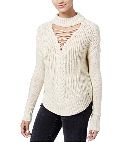 (American Rag Juniors Oatmeal Lace-Up Cutout Mock-Neck Sweater XS)